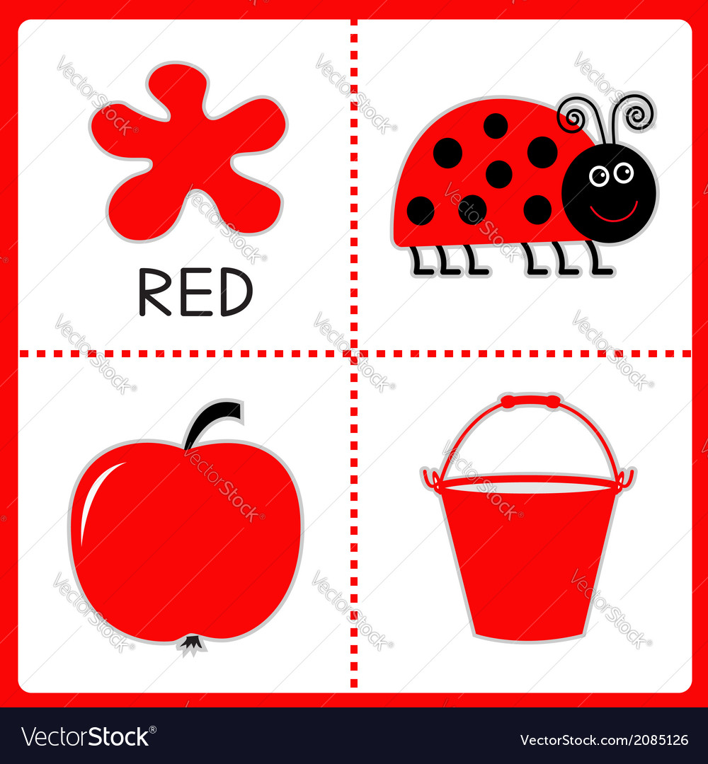Learning red color educational cards for kids vector | Price: 1 Credit (USD $1)