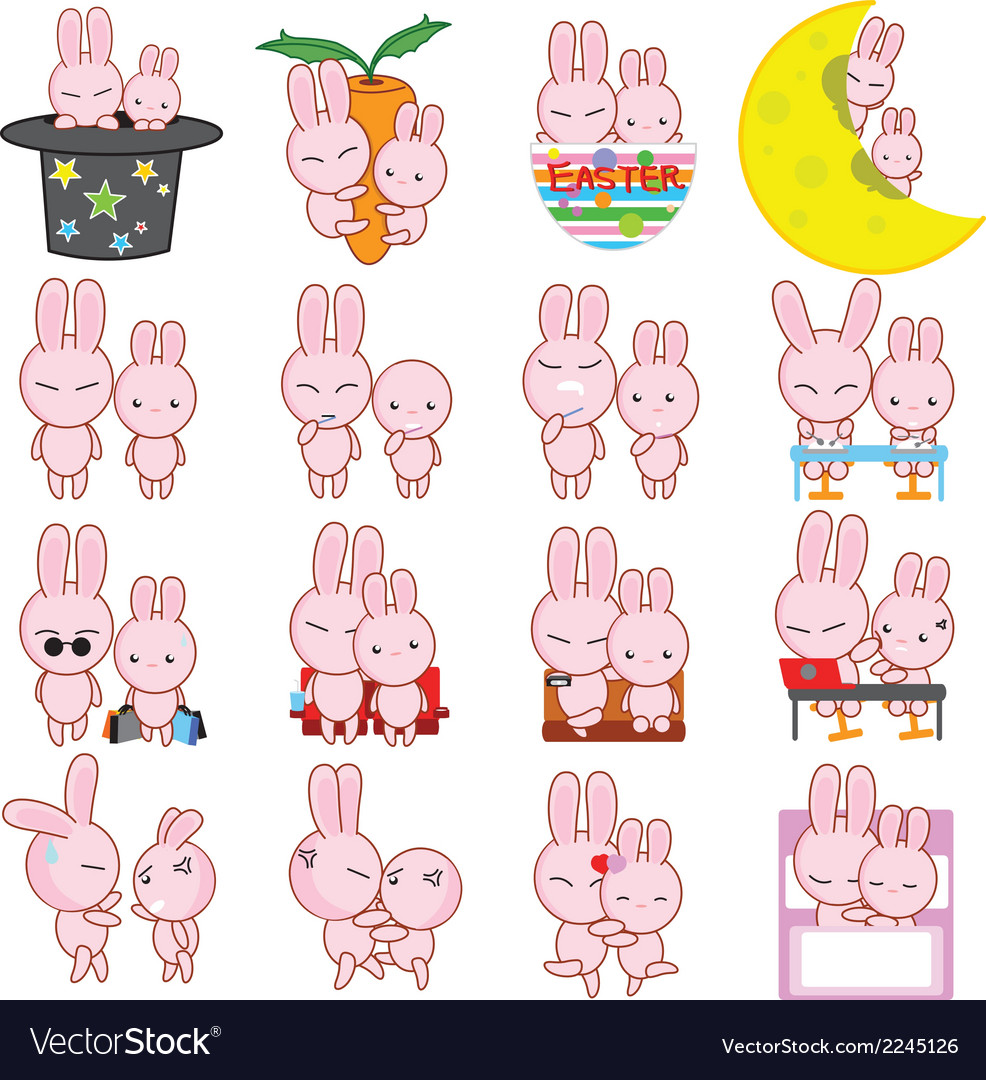 Rabbit cartoon characters vector   Price: 1 Credit (USD $1)