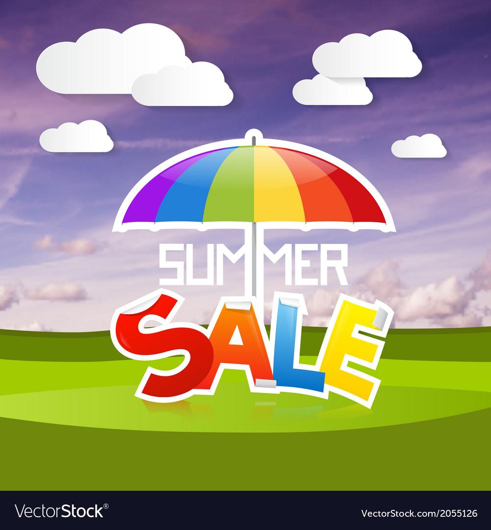 Summer sale on landscape background vector   Price: 1 Credit (USD $1)