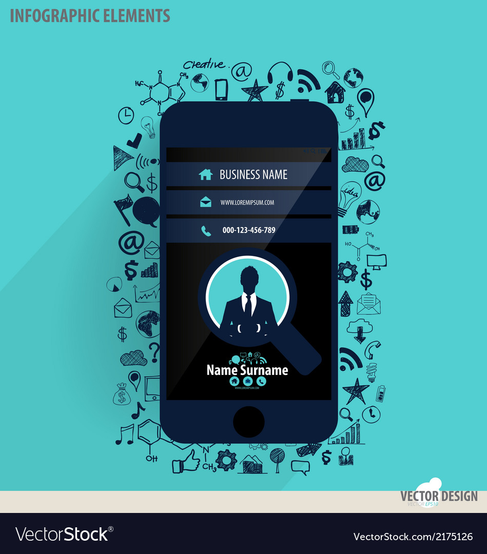 Touchscreen device with application icon vector | Price: 1 Credit (USD $1)