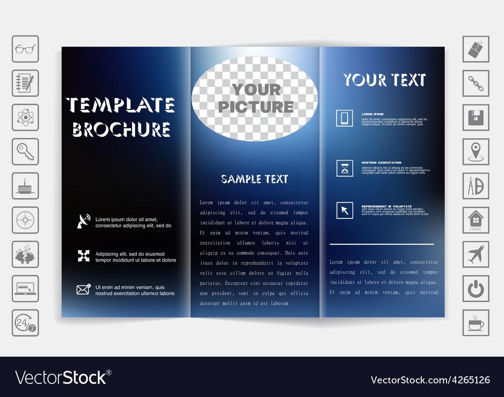 Tri-fold brochure mock up design blur background vector   Price: 1 Credit (USD $1)