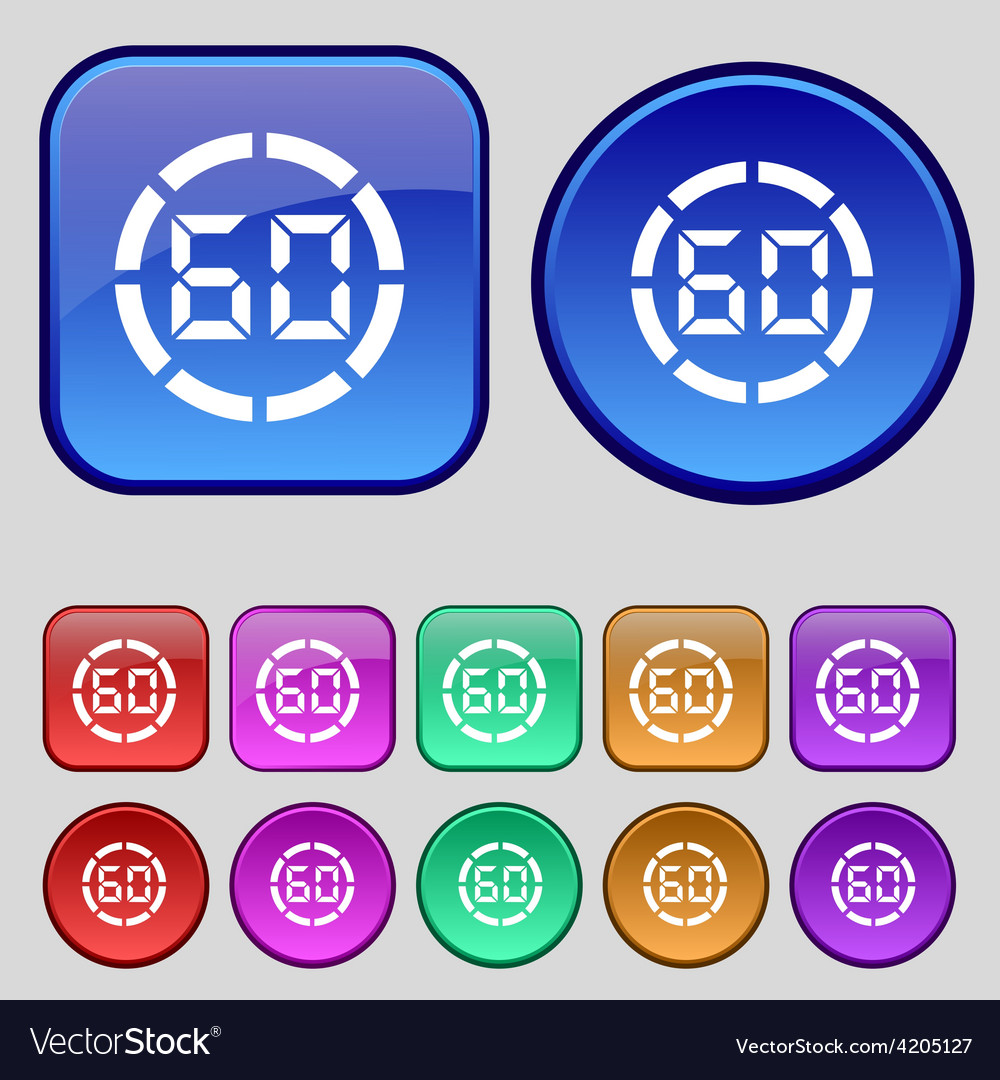 60 second stopwatch icon sign a set of twelve vector | Price: 1 Credit (USD $1)