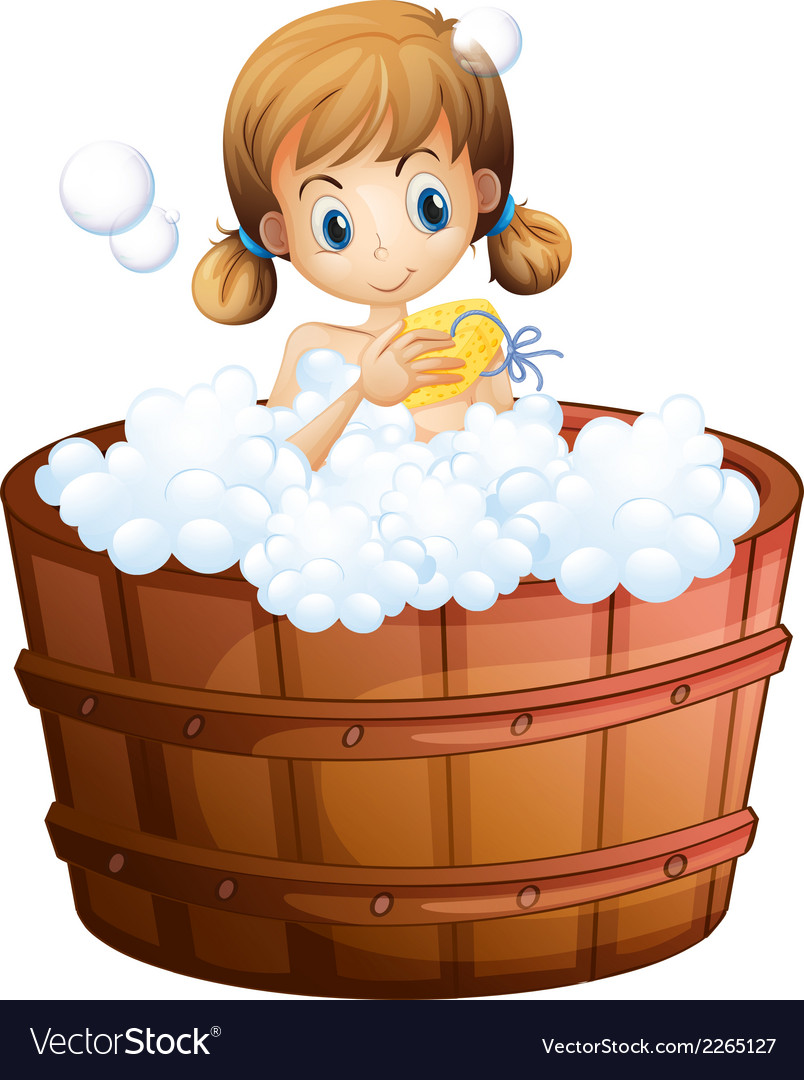 A young girl taking a bath at the bathtub vector | Price: 1 Credit (USD $1)