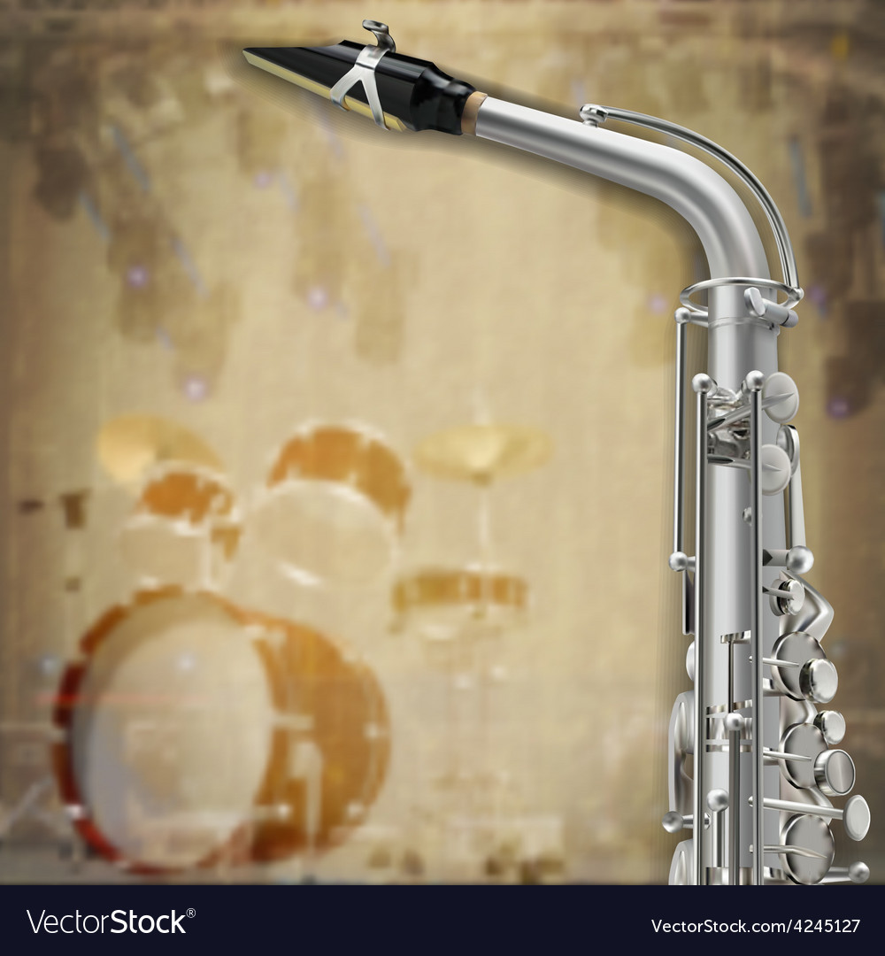 Abstract music grunge background with saxophone vector | Price: 3 Credit (USD $3)