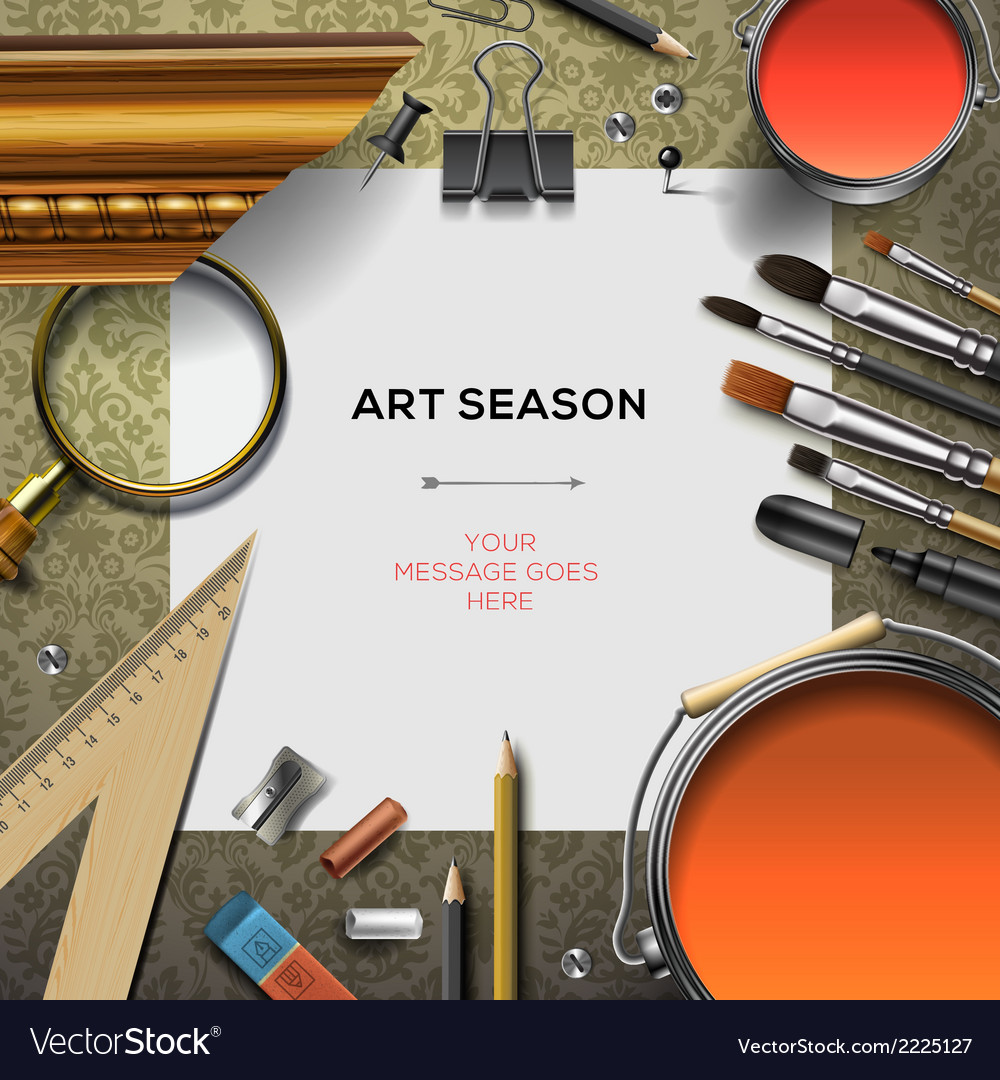 Art supplies template with artist tools vector | Price: 1 Credit (USD $1)