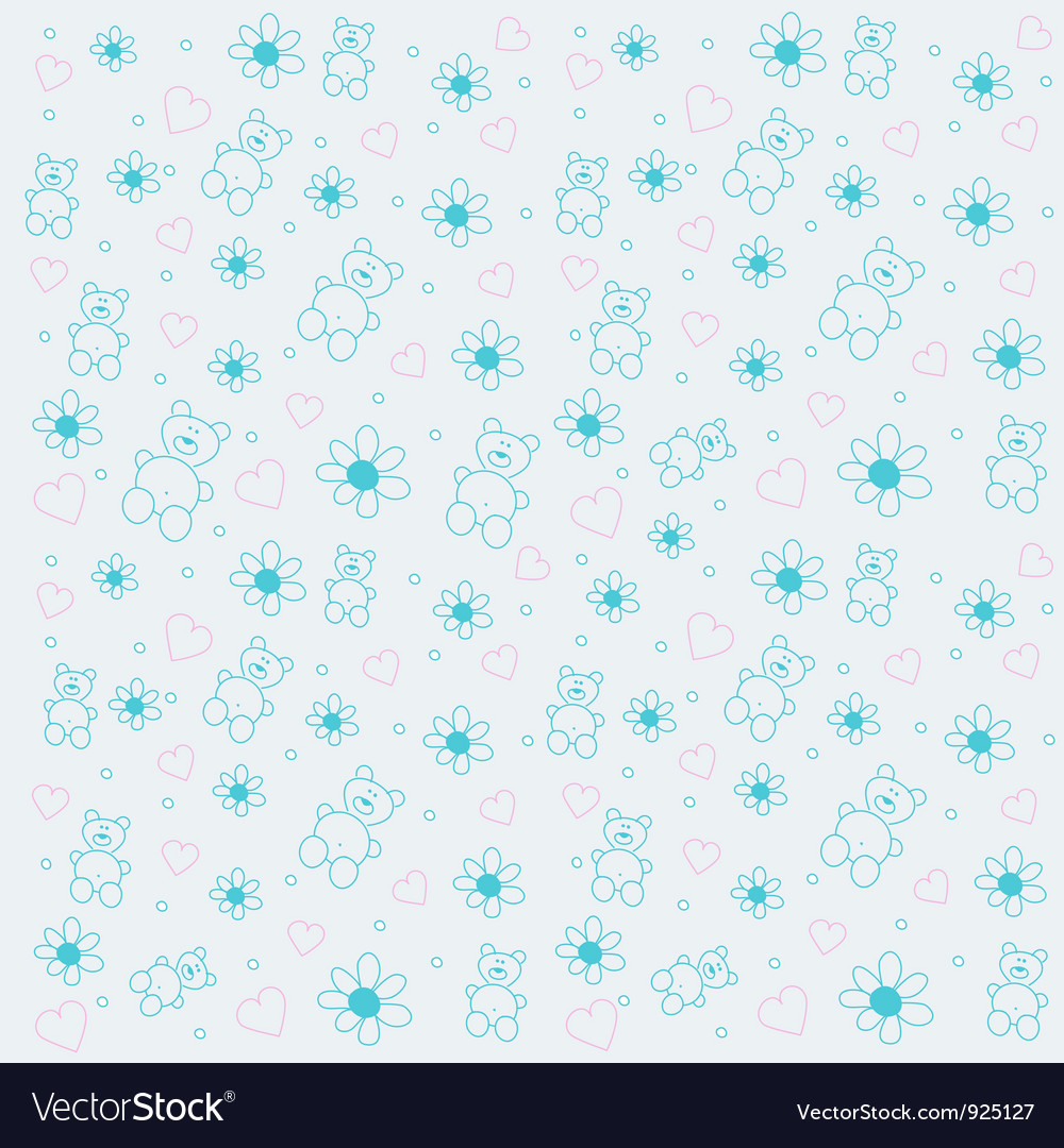 Background with bears and flowers vector | Price: 1 Credit (USD $1)