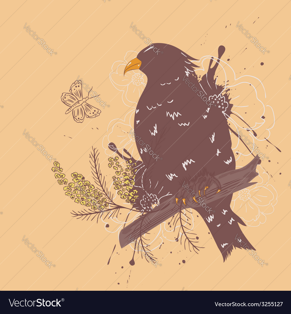 Bird with flowers3 vector | Price: 1 Credit (USD $1)