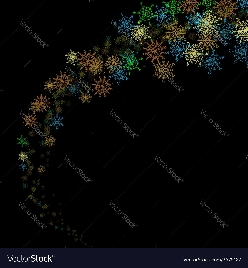 Colorful snowflakes blizzard in the darkness vector | Price: 1 Credit (USD $1)