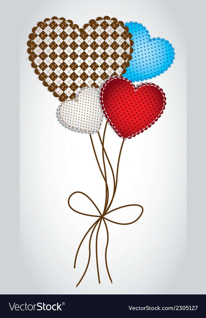Heartshaped balloons with patterns isolated on whi vector | Price: 1 Credit (USD $1)