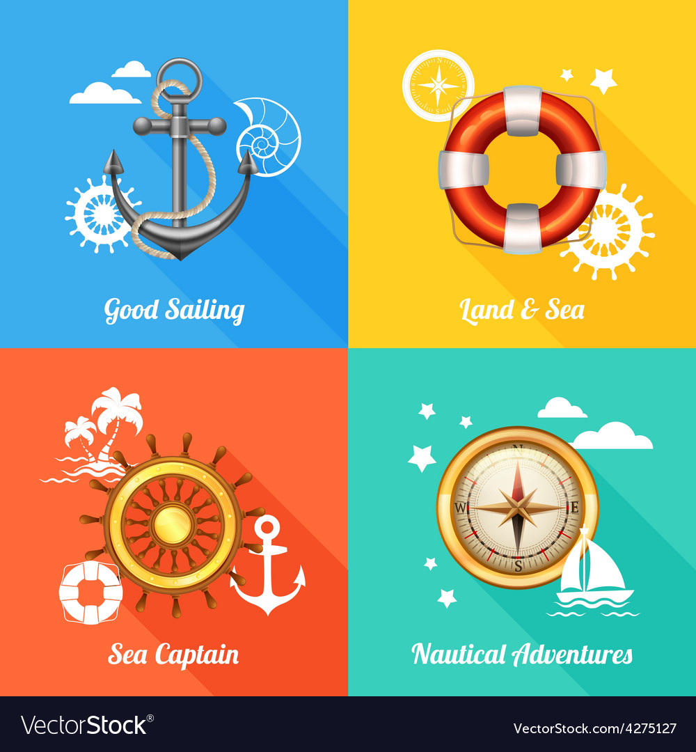 Nautical design concept 4 flat icons vector | Price: 1 Credit (USD $1)