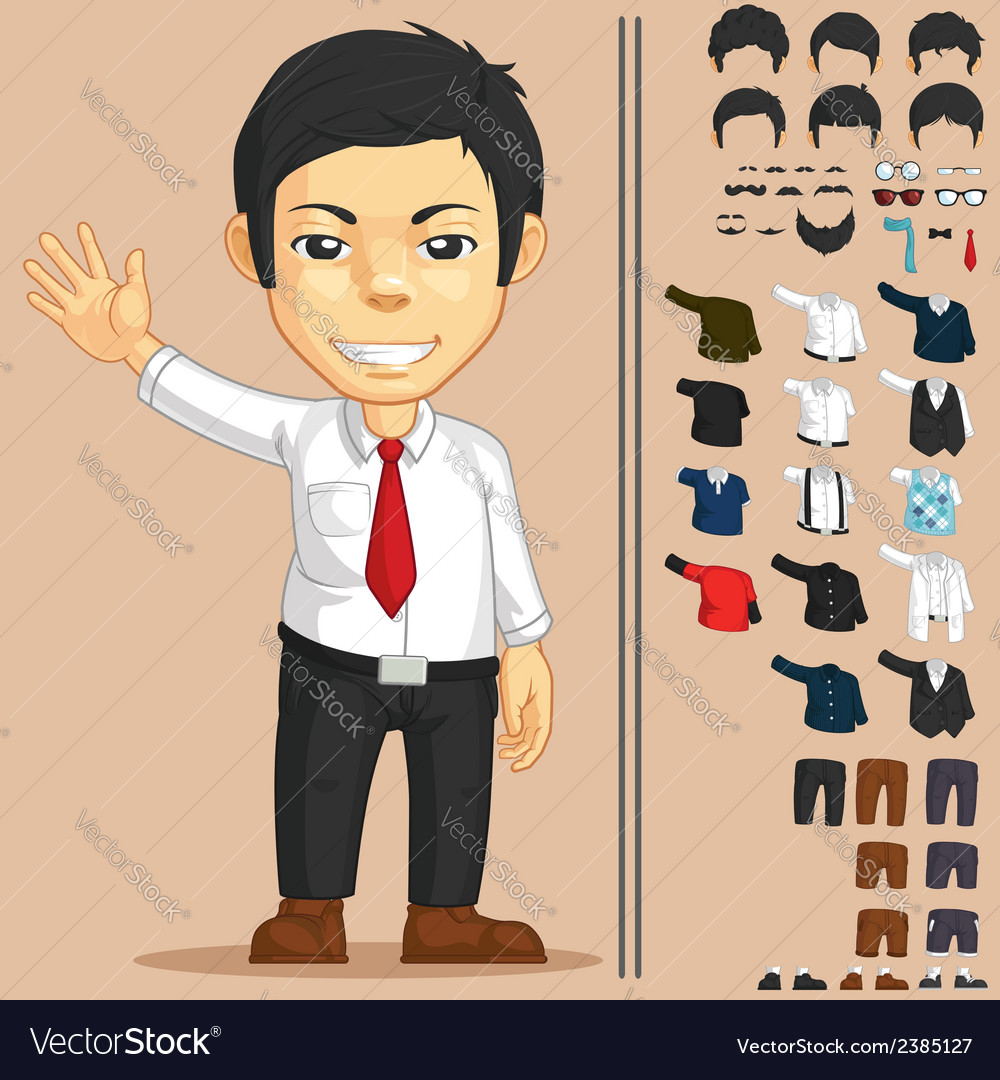 Office worker customizable character vector | Price: 1 Credit (USD $1)