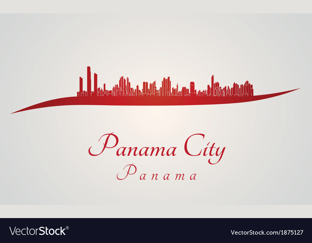 Panama city skyline in red vector | Price: 1 Credit (USD $1)