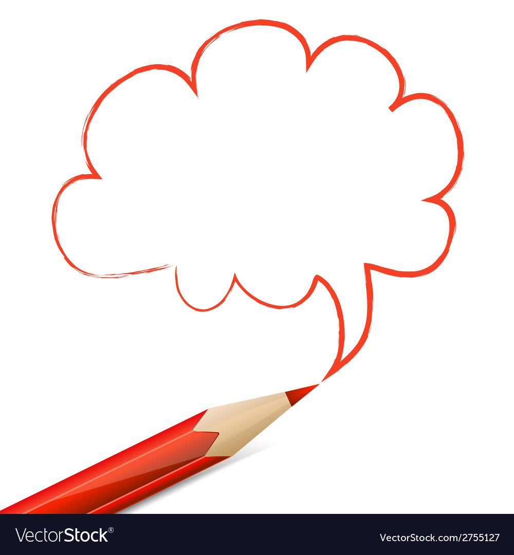 Red speech bubble drawn with pencil vector | Price: 1 Credit (USD $1)