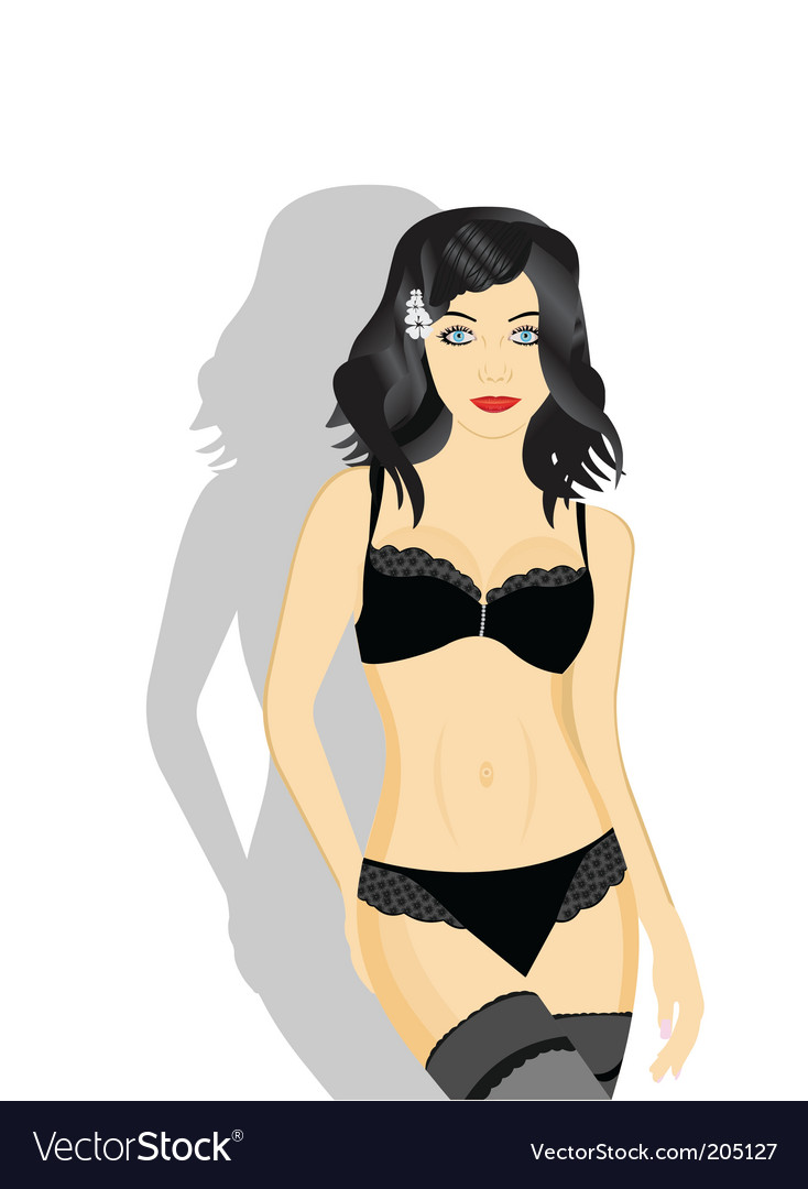Sexy girl in black lingerie vector | Price: 3 Credit (USD $3)