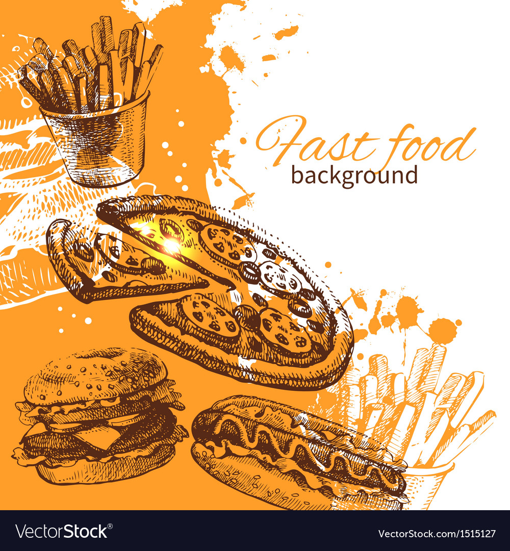 Vintage fast food background vector | Price: 1 Credit (USD $1)