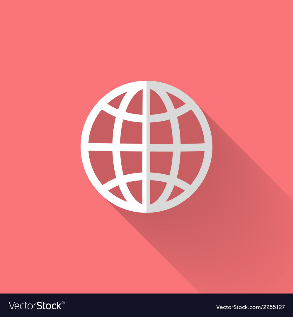 White globe icon over pink vector | Price: 1 Credit (USD $1)