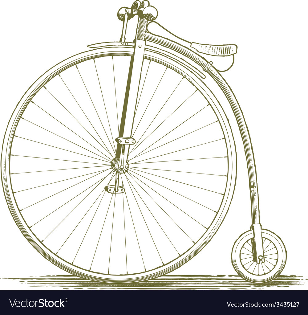 Woodcut vintage bicycle drawing vector | Price: 1 Credit (USD $1)