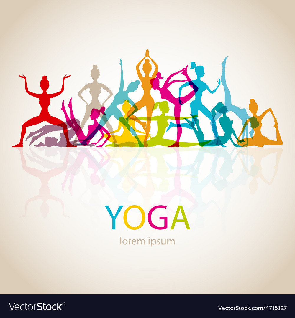 Yoga poses woman silhouette vector   Price: 1 Credit (USD $1)