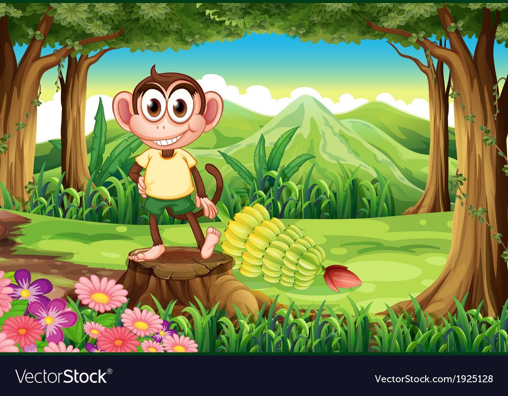 A playful monkey above the stump at the forest vector | Price: 3 Credit (USD $3)