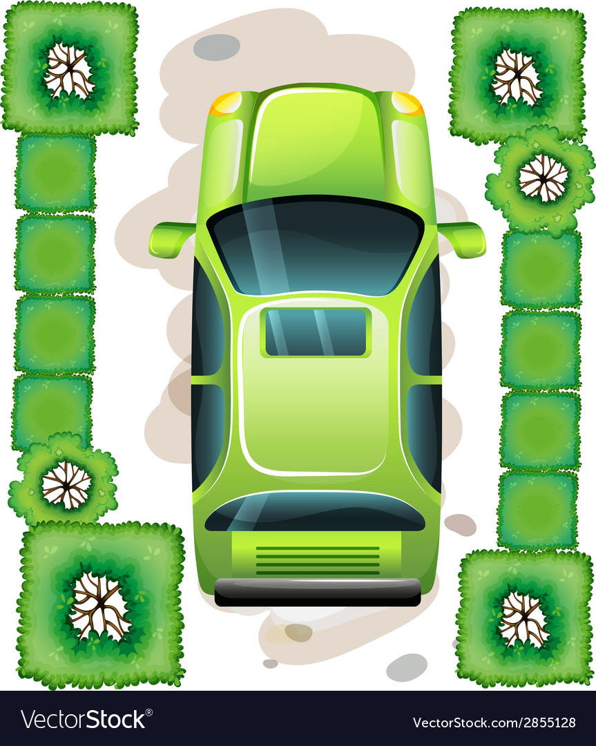 A topview of a green car vector | Price: 1 Credit (USD $1)