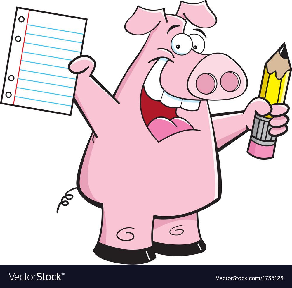 Cartoon student pig vector | Price: 1 Credit (USD $1)