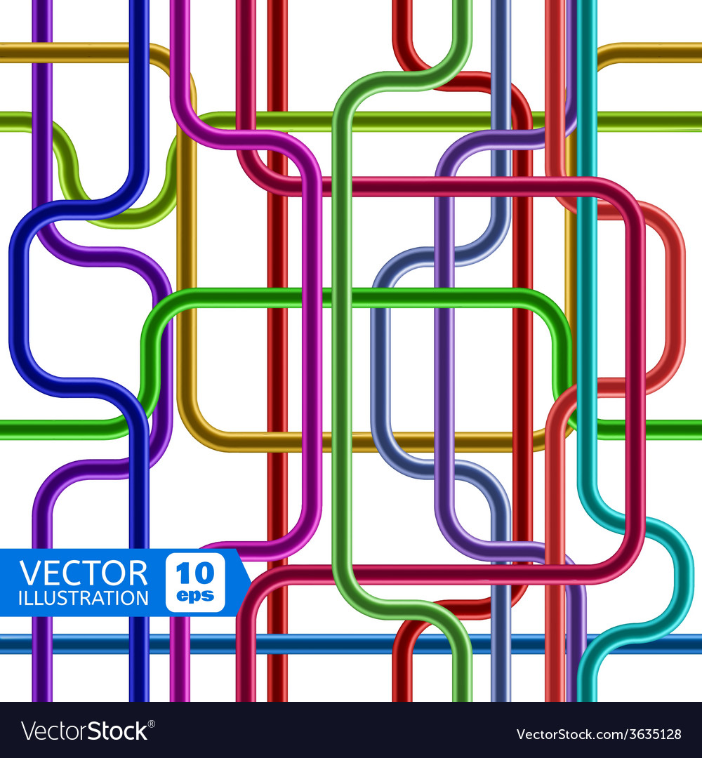 Colorful shiny tubes seamless pattern vector | Price: 1 Credit (USD $1)