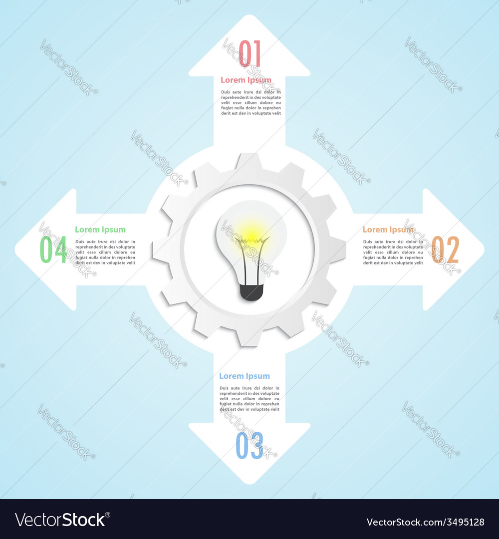 Gear and lightbulb infographic design template vector | Price: 1 Credit (USD $1)