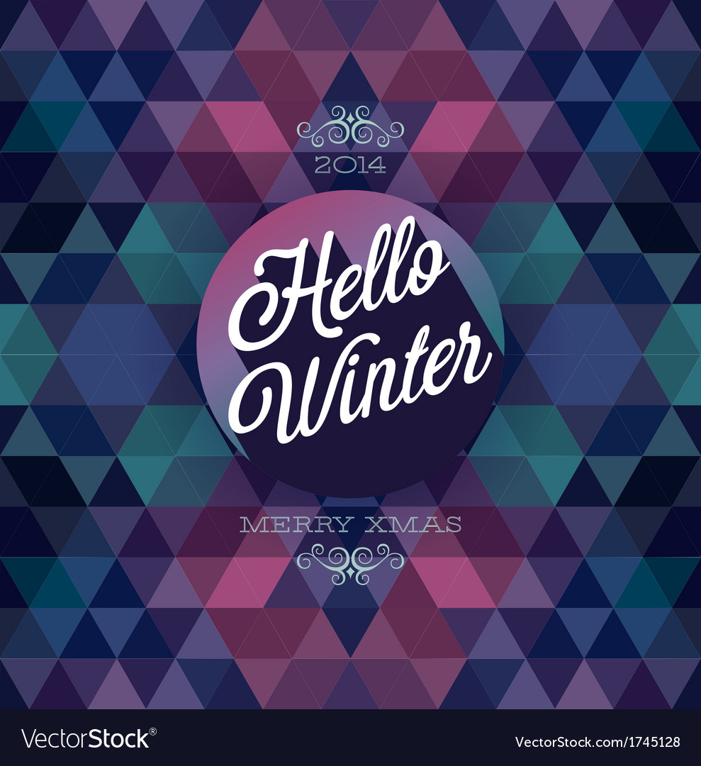Hipster hello winter dark vector | Price: 1 Credit (USD $1)