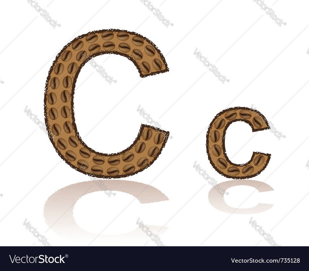 Letter c is made grains of coffee isolated on whit vector | Price: 1 Credit (USD $1)