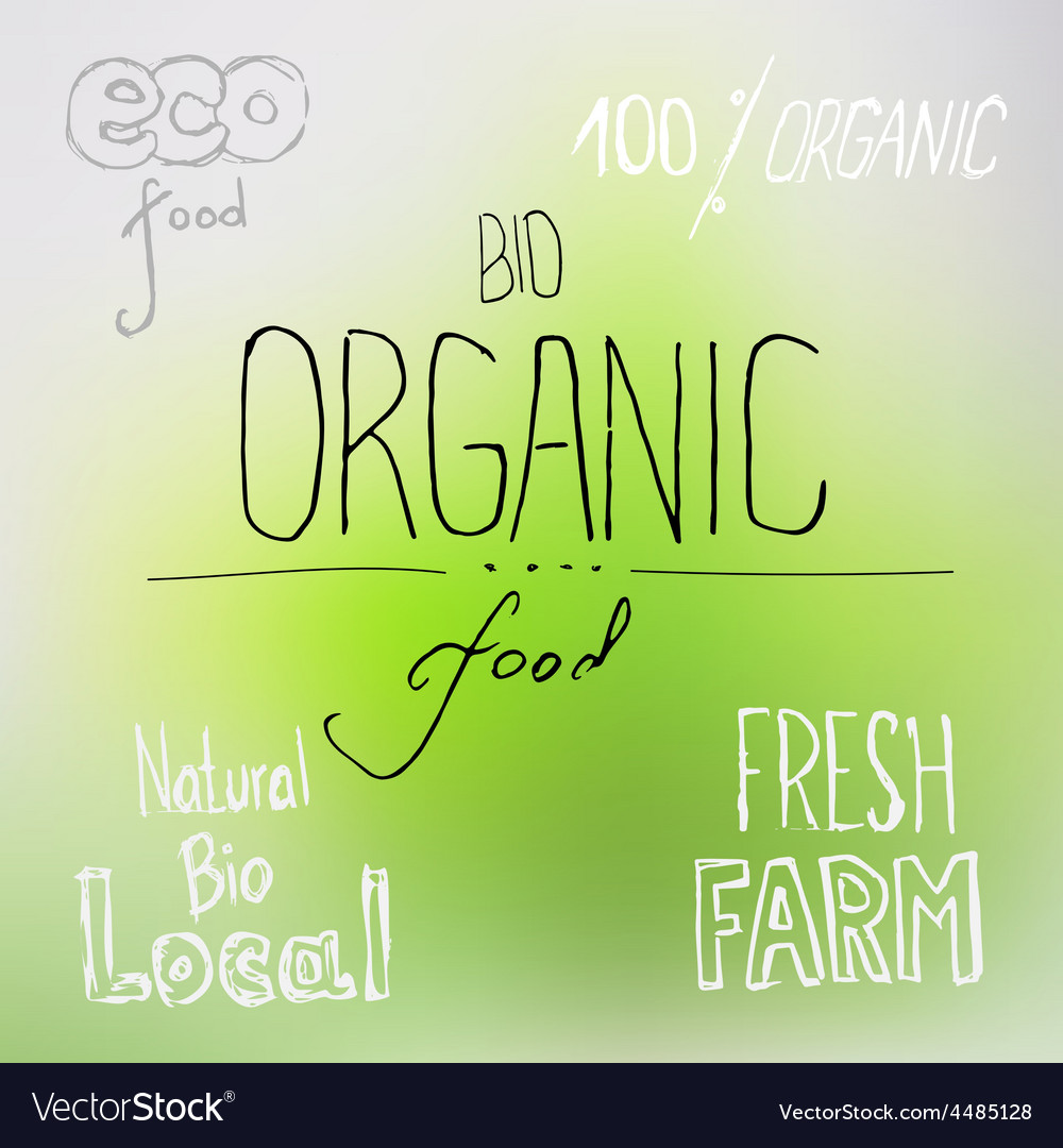 Organic food lettering vector