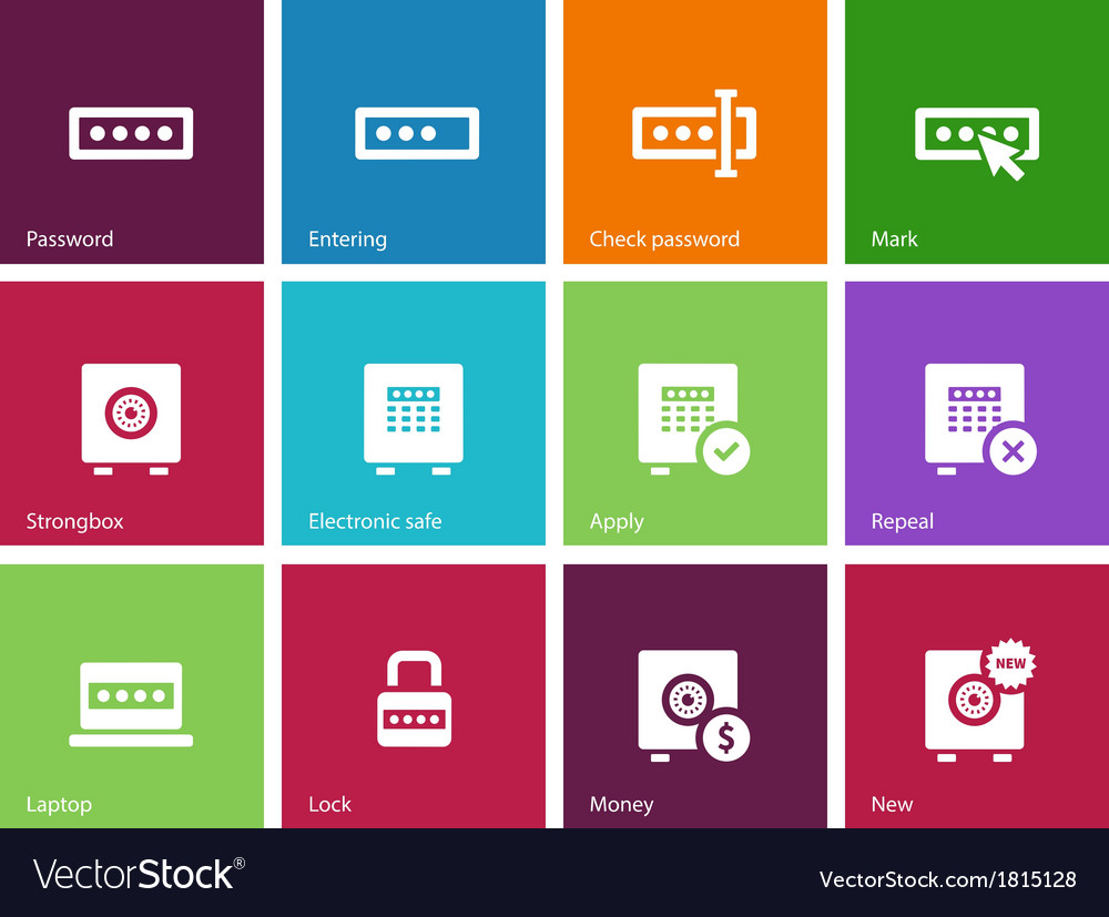 Password icons on color background vector | Price: 1 Credit (USD $1)