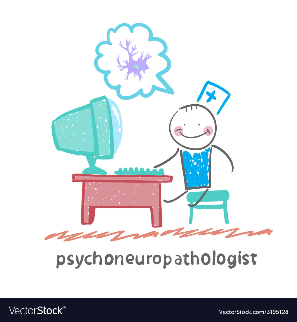 Psychoneuropathologist sits on the workplace at vector | Price: 1 Credit (USD $1)