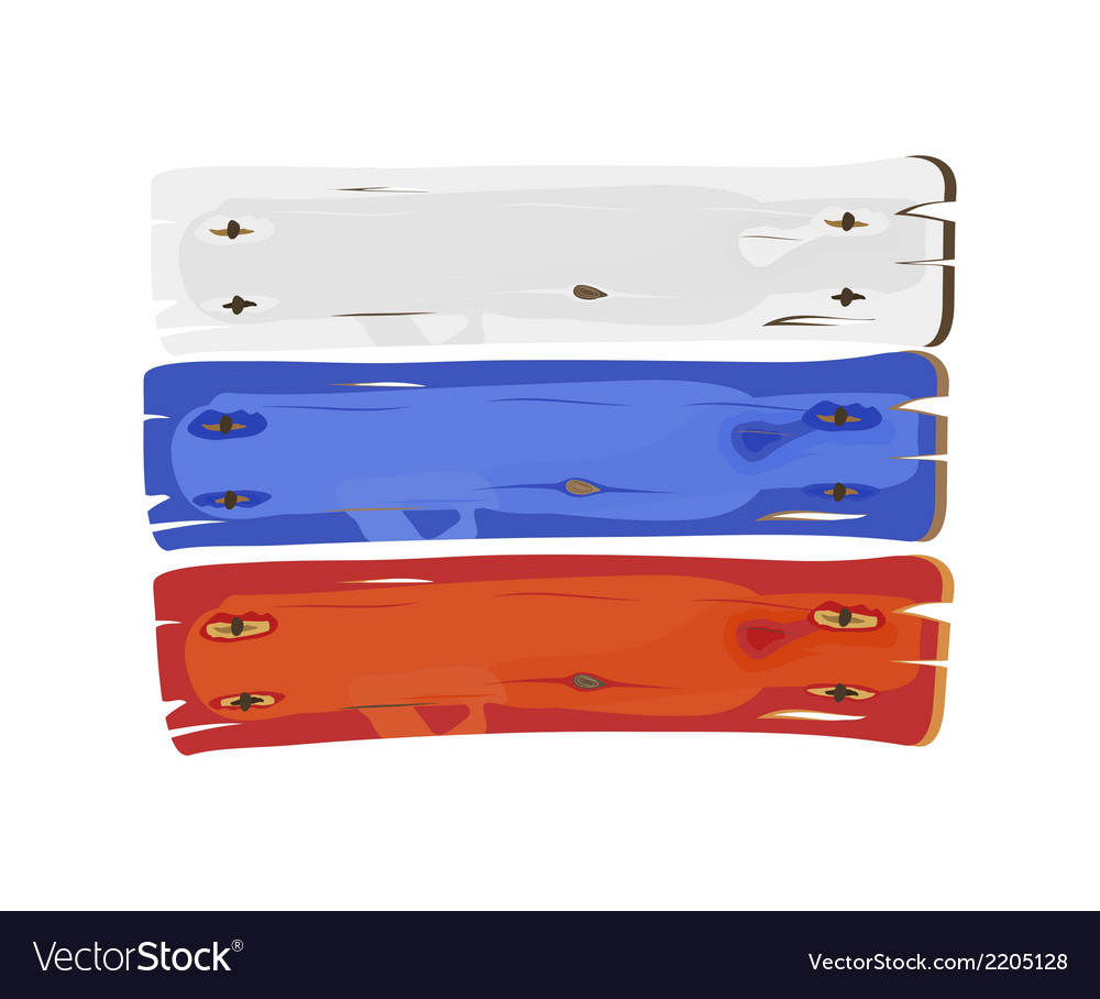 Russian flag painted on wooden planks isolated vector | Price: 1 Credit (USD $1)