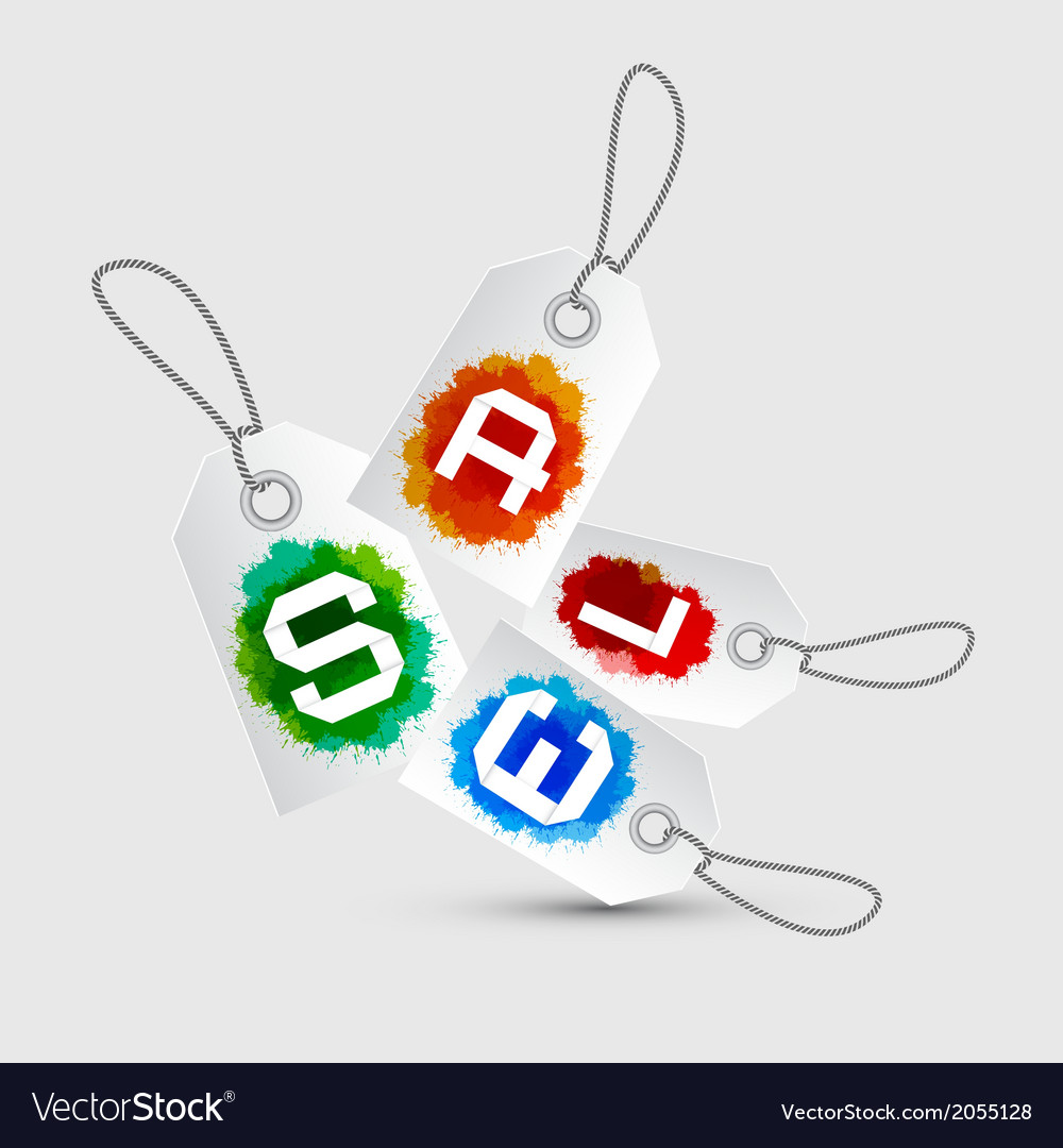 Sale tags - stickers with rope and colorful vector | Price: 1 Credit (USD $1)