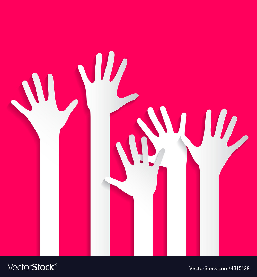 Voting hands - paper cut palm hands and arms set vector | Price: 1 Credit (USD $1)