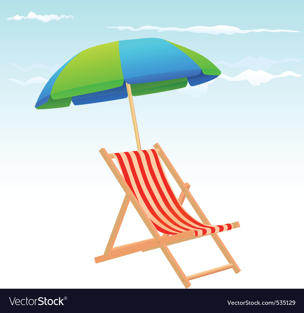 Beach chairs and umbrella vector | Price: 1 Credit (USD $1)