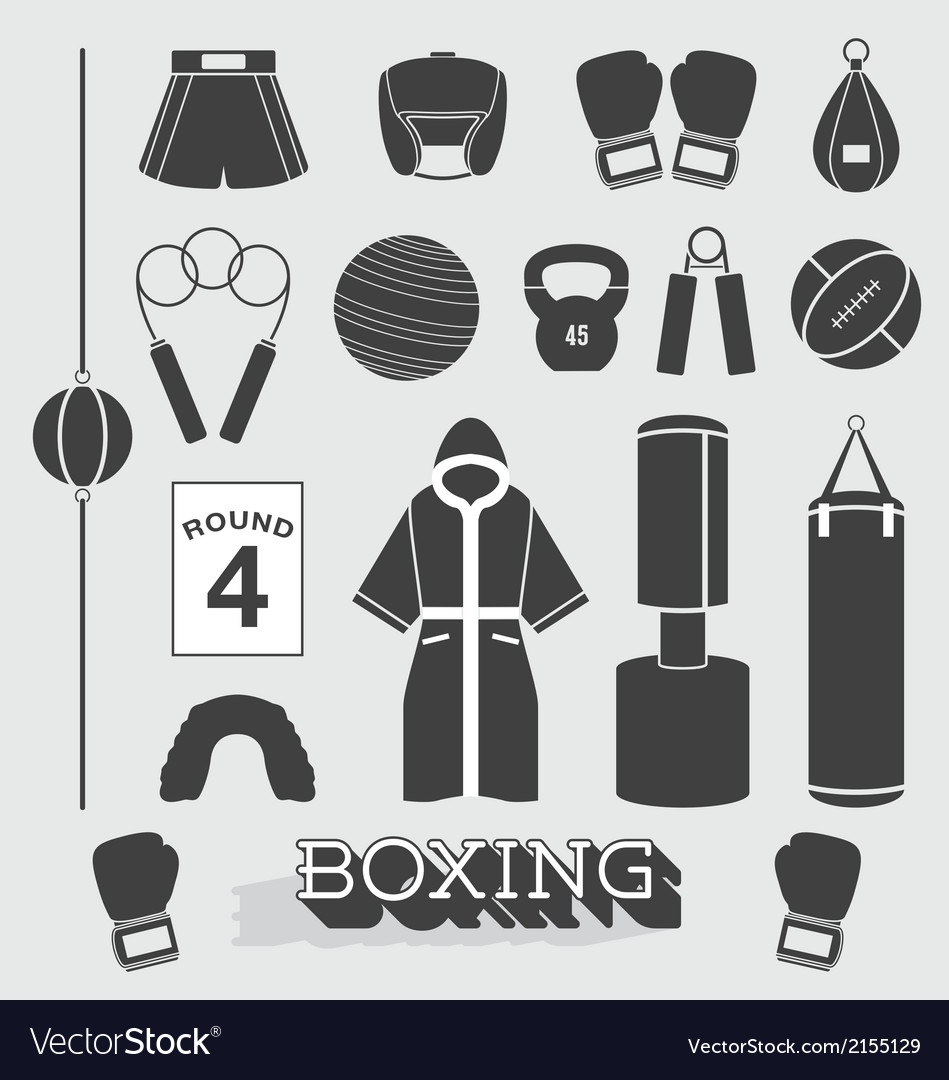 Boxing objects and icons vector