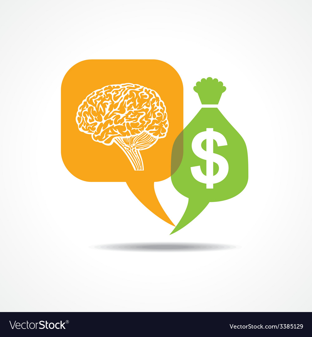 Brain and dollar symbol in message bubble vector | Price: 1 Credit (USD $1)