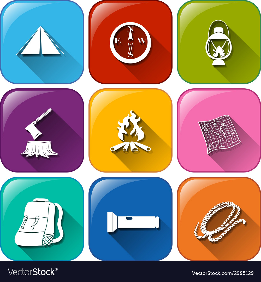 Buttons with the different camping materials vector | Price: 1 Credit (USD $1)