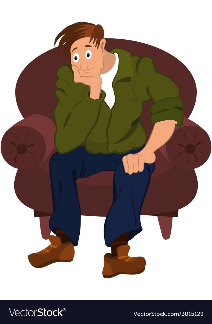 Cartoon man in green jacket sitting in armchair vector   Price: 1 Credit (USD $1)