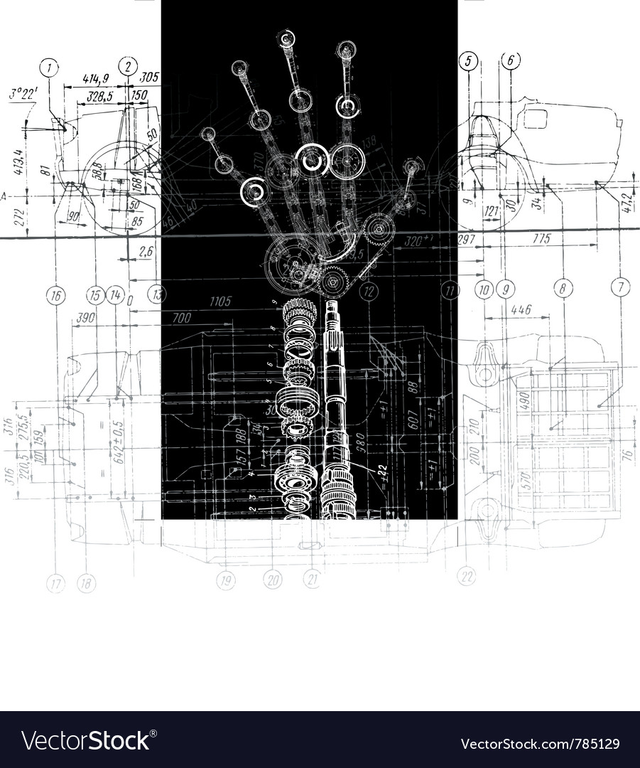 Hand of many mechanisms vector | Price: 1 Credit (USD $1)
