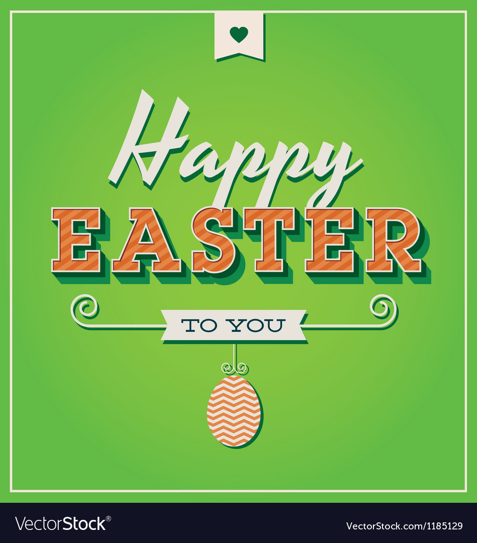 Happy easter card with retro vintage typography vector | Price: 1 Credit (USD $1)
