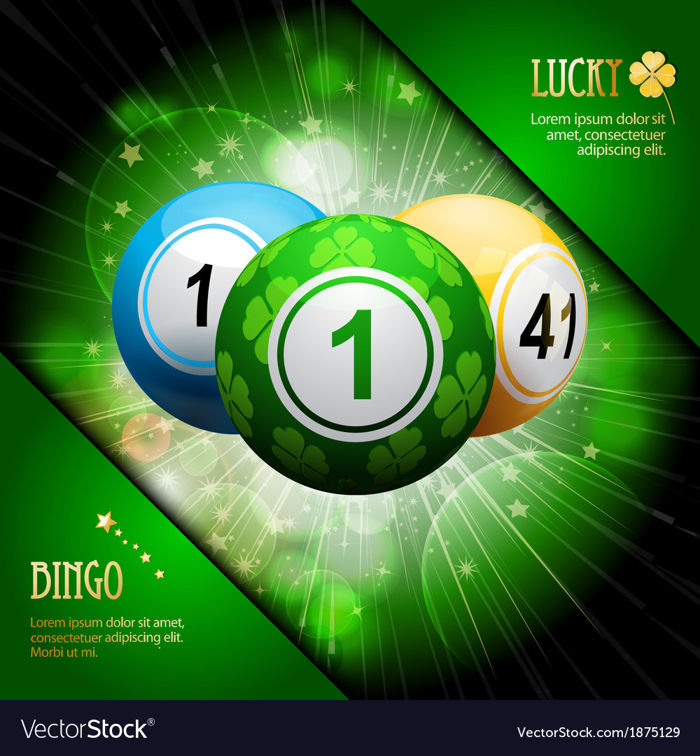 Lucky clover bingo ball explosion on green vector | Price: 1 Credit (USD $1)