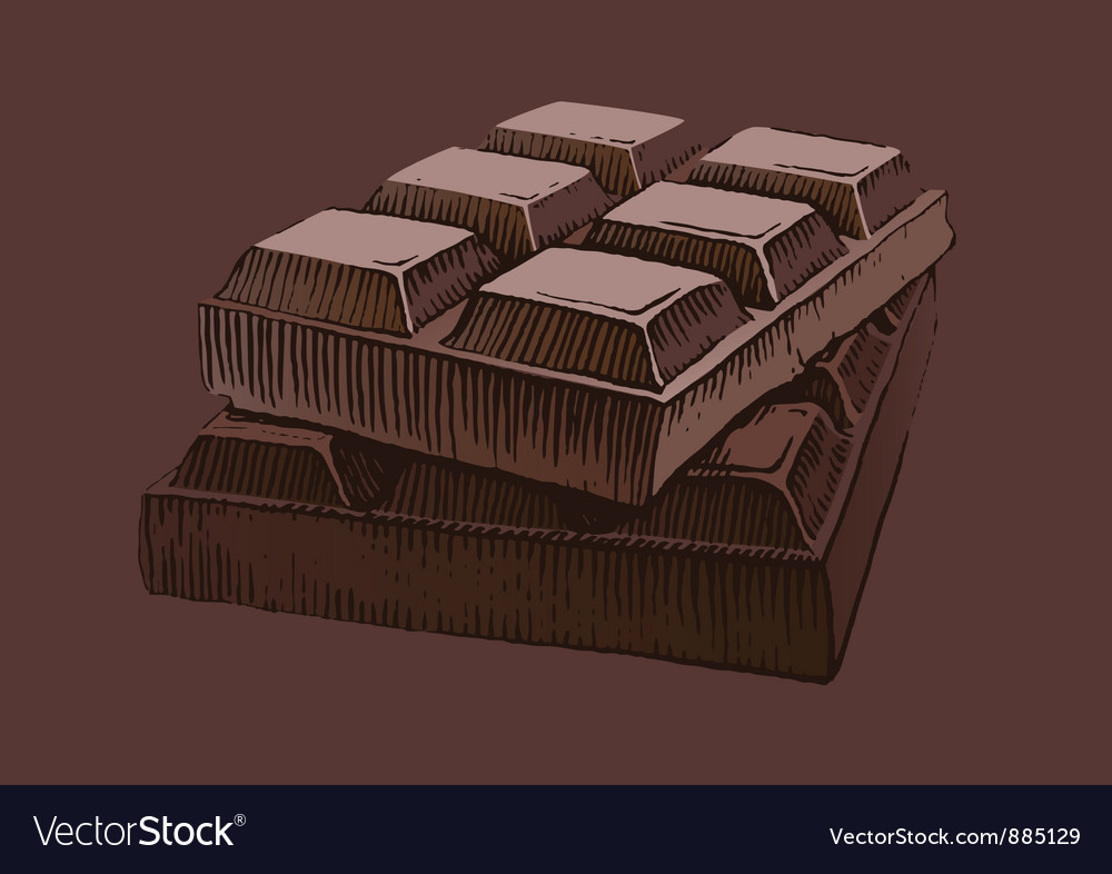 Piece of chocolate vector