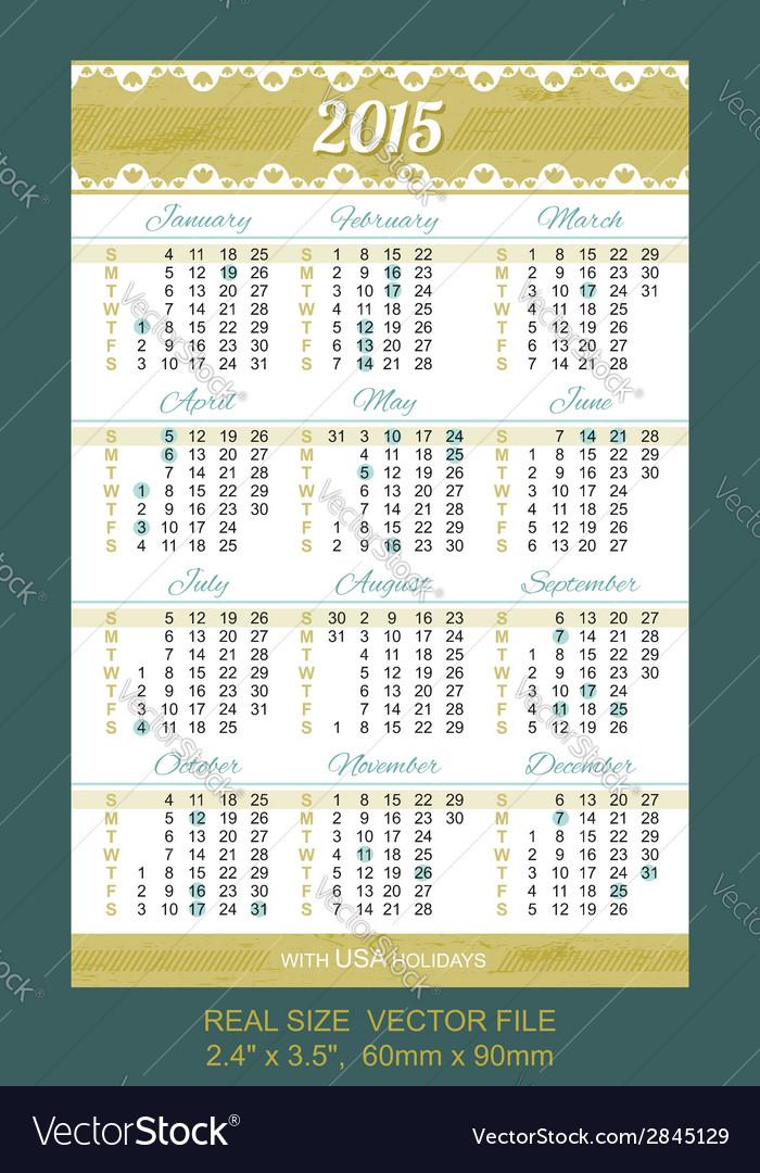 Pocket calendar 2015 with usa holidays vector | Price: 1 Credit (USD $1)