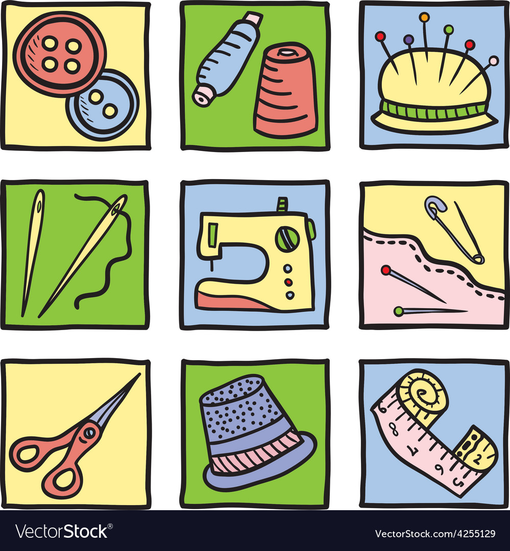 Sewing stuff and tools vector | Price: 1 Credit (USD $1)