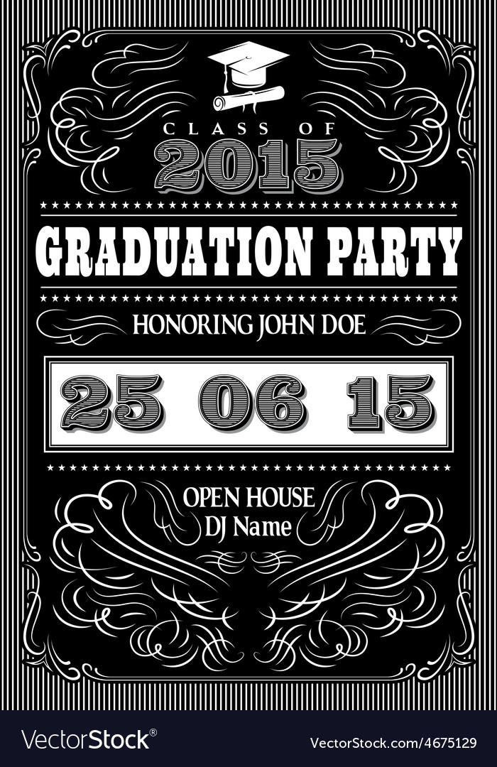 Template for the posters to graduate party vector | Price: 1 Credit (USD $1)