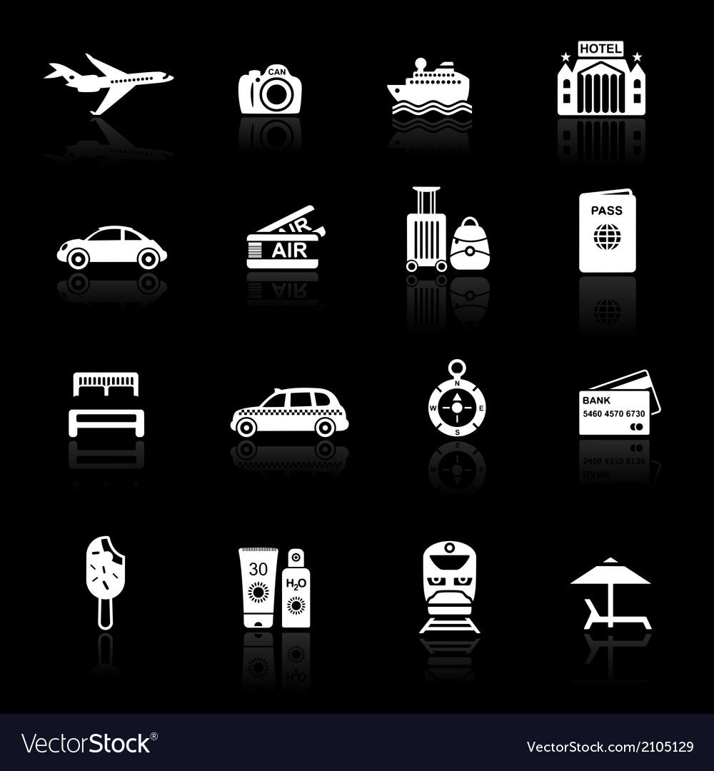 Travel icons white on black vector   Price: 1 Credit (USD $1)