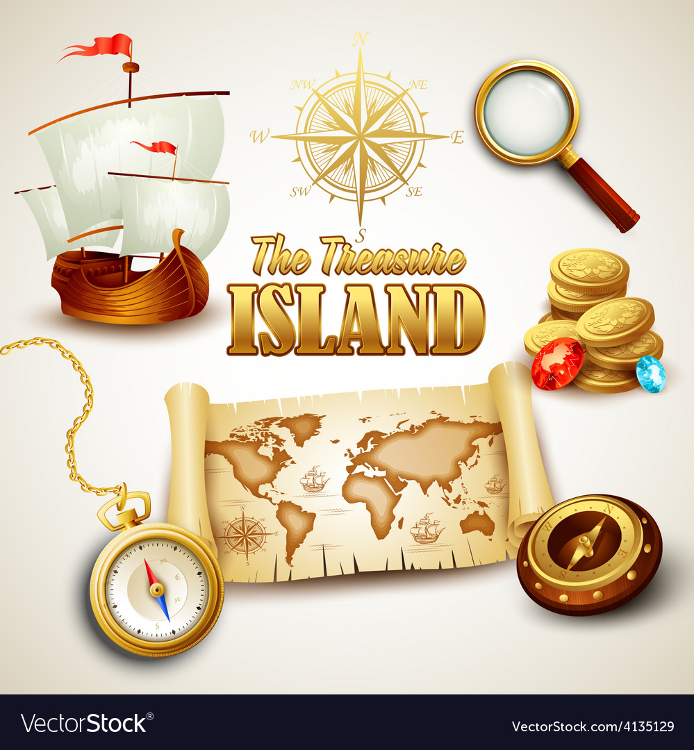 Treasure island icons set vector   Price: 3 Credit (USD $3)