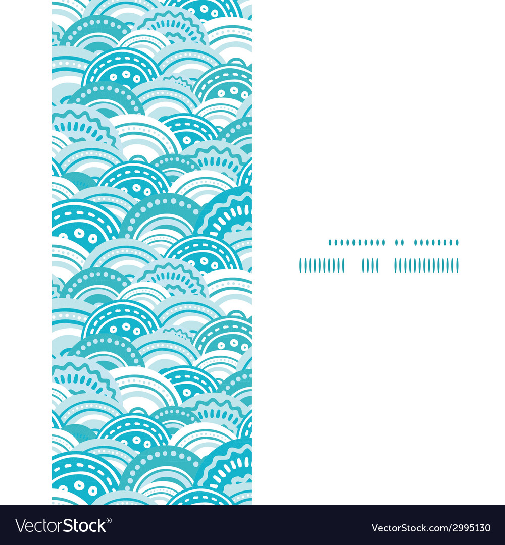 Abstract blue waves vertical frame seamless vector | Price: 1 Credit (USD $1)